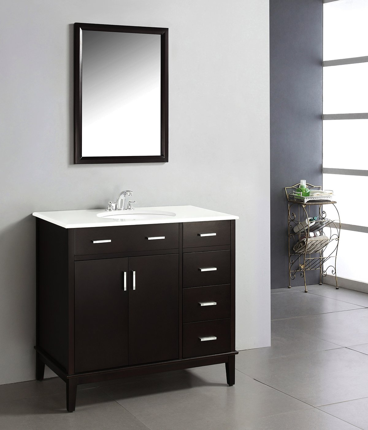 Simpli Home Urban Loft Bath Vanity With Quartz Marble Top Dark - 30 bathroom vanity without top