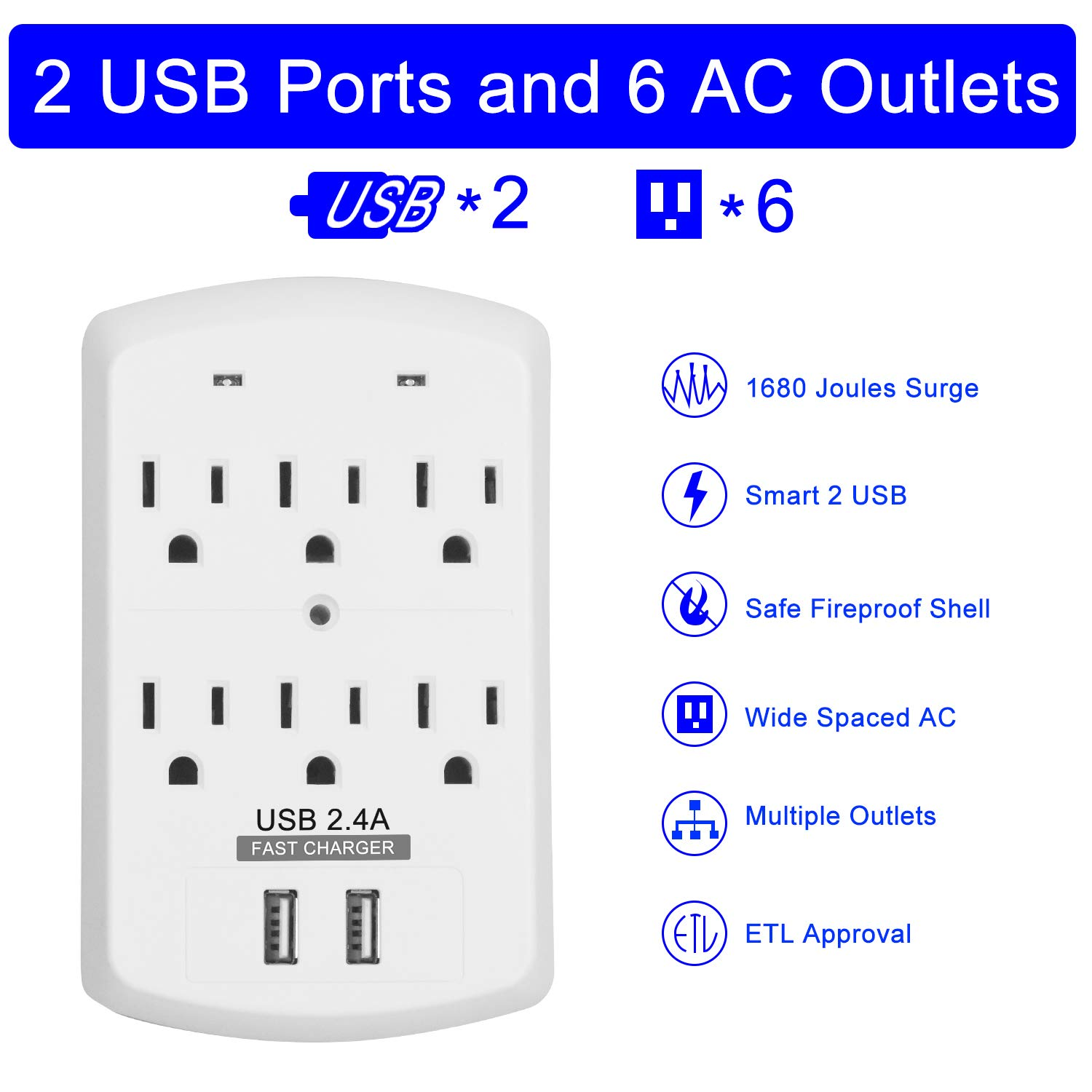 Surge Protector JIANYIJIA USB Wall Charger with Dual 2.4A USB Charging Ports Multi Plug Outlets 6 AC Socket Outlet Plugs,1680 Joules Surge Suppression-White