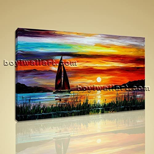 Ordinaire Large Sailboat Painting Landscape Impressionism Wall Art Print On Canvas  BedRoom, Large Sunset Wall Art