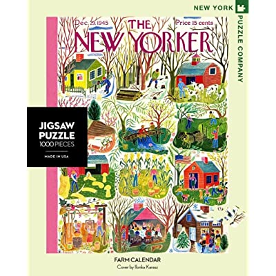 New York Puzzle Company - New Yorker Farm Calendar - 1000 Piece Jigsaw Puzzle: Toys & Games