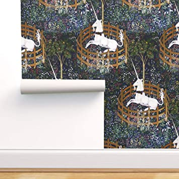 Spoonflower Peel And Stick Removable Wallpaper Unicorn Tapestry Medieval Castle Renaissance Print Self Adhesive Wallpaper 24in X 36in Roll Amazon Com