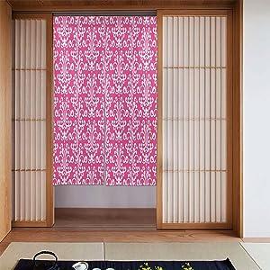 OcuteO Noren Doorway Curtain Pink and Magenta Floral Pattern Damask Japanese Noren Doorway Curtain Long Tapestry Door Curtains Decor Dividers for Home Kitchen Bedroom Bathroom Living Room Office
