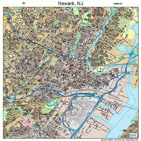 Amazon.com: Large Street & Road Map of Newark, New Jersey NJ ...