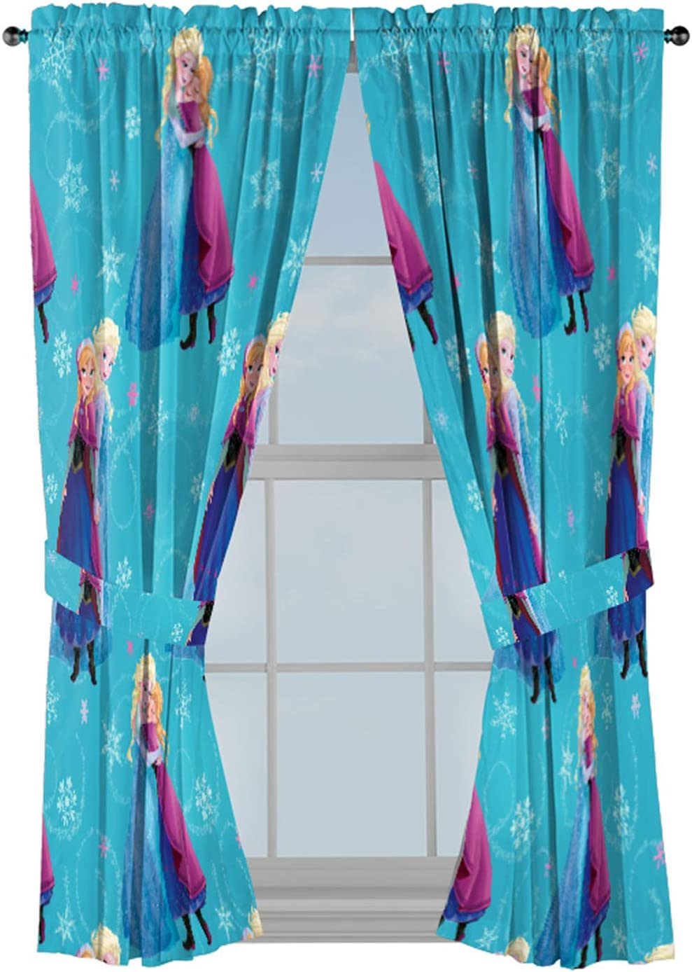 "Jay Franco Disney Frozen Swirl 63"" inch Drapes 4 Piece Set - Beautiful Room Décor & Easy Set up, Bedding Features Anna & Elsa - Window Curtains Include 2 Panels & 2 Tiebacks (Official Disney Product)"