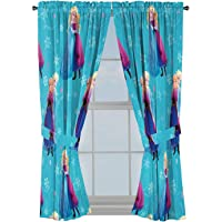 """Jay Franco Disney Frozen Swirl 63"""" Inch Drapes 4 Piece Set - Beautiful Room Décor & Easy Set Up, Bedding Features Anna…"""