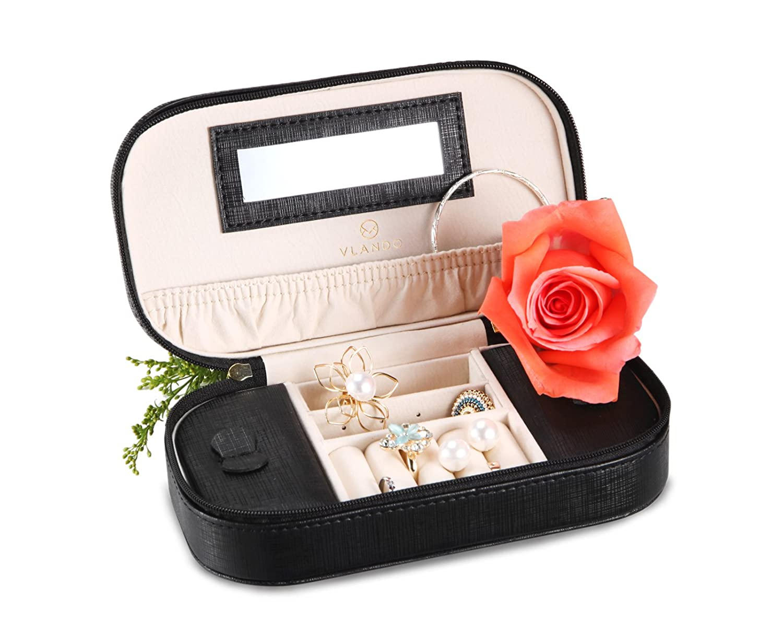 negro negro Joyero de viaje peque/ño port/átil de cuero sint/ético de Vlando Joyero organizador Caja para guardar anillos y collares con espejo