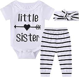 6280e47a937f1 Newborn Baby Girls Little Sister Short Sleeve Bodysuit Striped Pants Outfit  Set