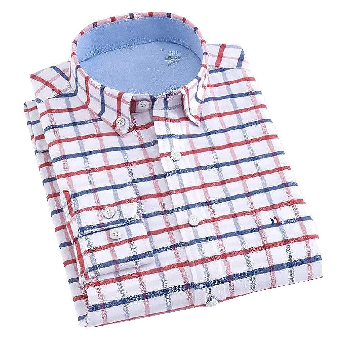 YUNY Mens Long-Sleeve Plaid Cozy Formal Classic Oxford Poplin Shirt 27 2XL