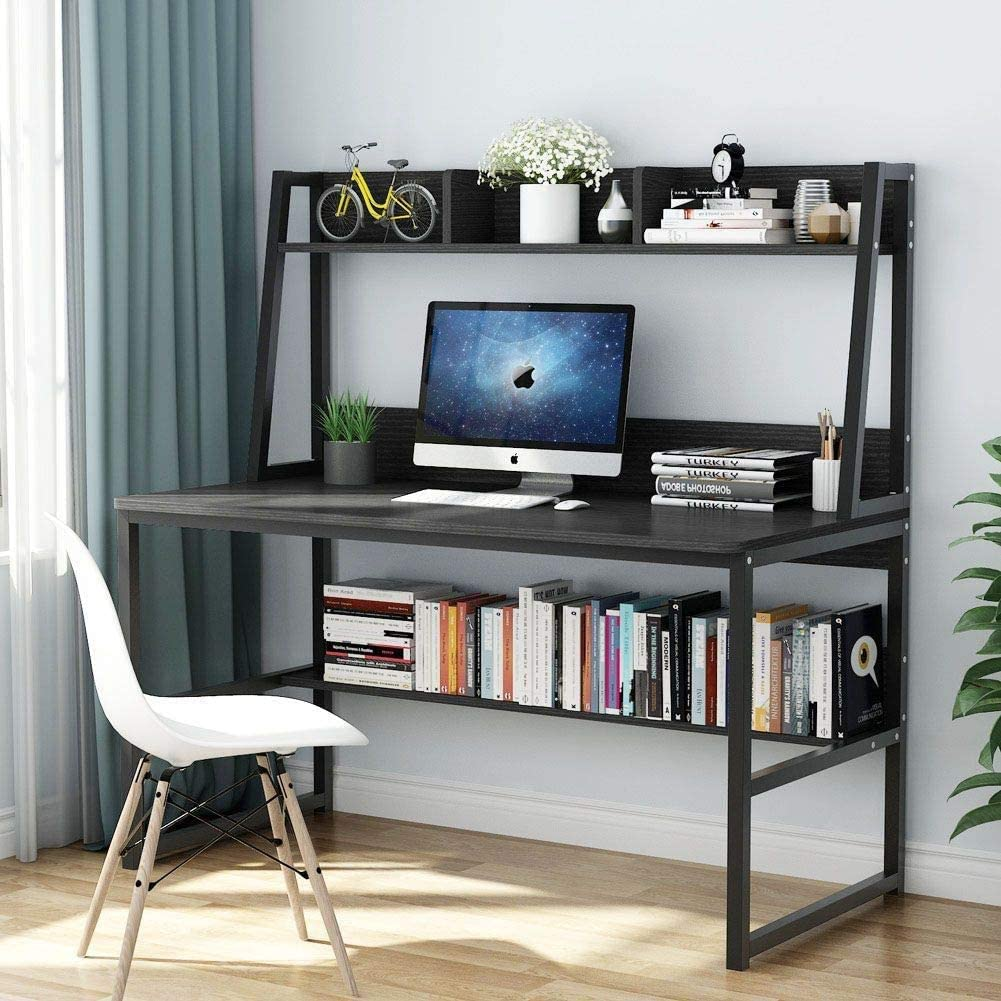 47 Inches Computer Desk with Bookshelf Modern Study Writing PC Laptop Table Workstation with Desktop Display Shelves Multipurpose Home Office Desk - US Stock (Black)