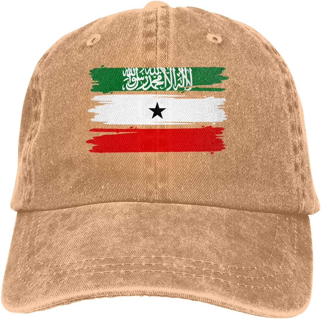 Unisex Adjustable Cotton Denim Baseball Caps Somaliland Flag Trucker Cap