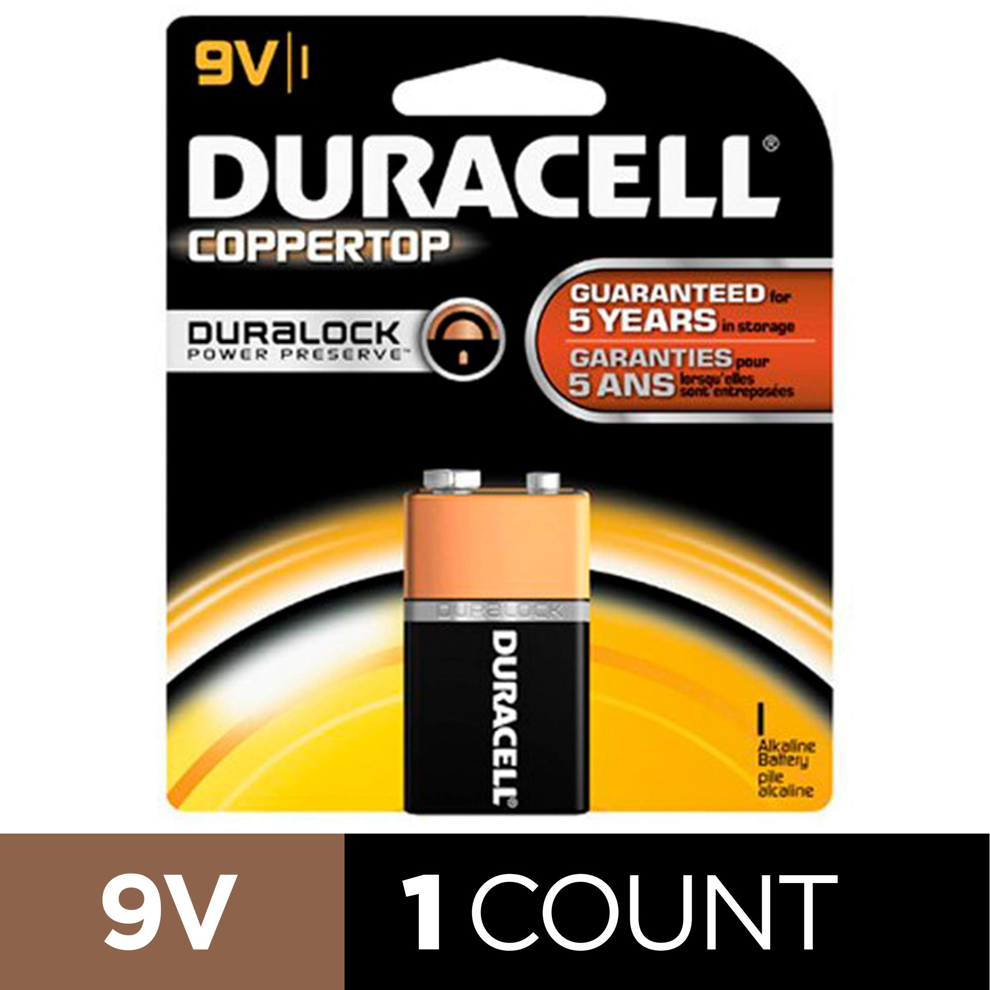 Duracell – CopperTop 9V Alkaline Batteries – long lasting, all-purpose 9 Volt battery for household and business – 2 count