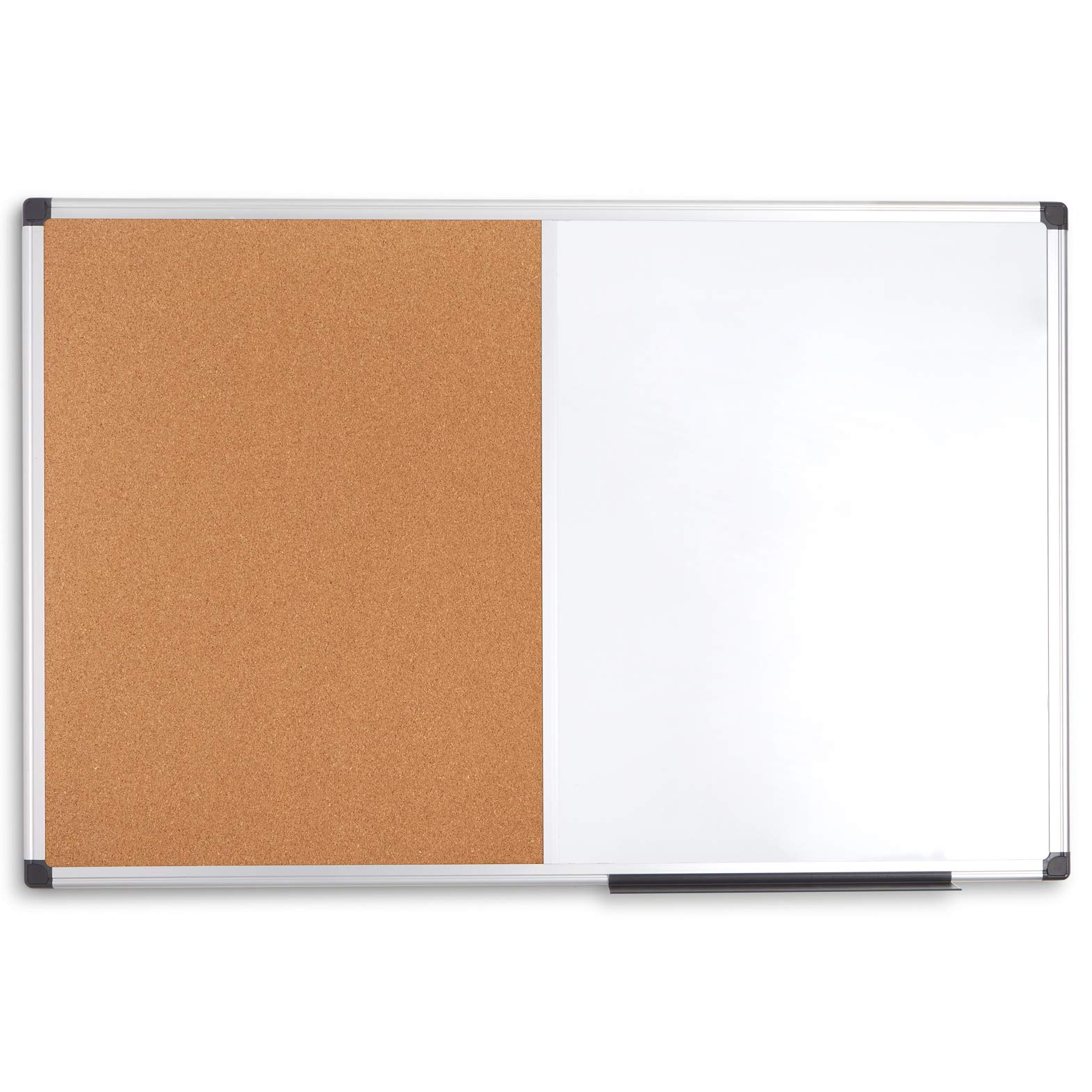 """Blue Summit Supplies 36"""" x 48"""" Combination Magnetic Whiteboard and Corkboard with Aluminum Frame, Melamine Dry Erase and Bulletin Board Combo, Detachable Marker Tray by Blue Summit Supplies (Image #1)"""