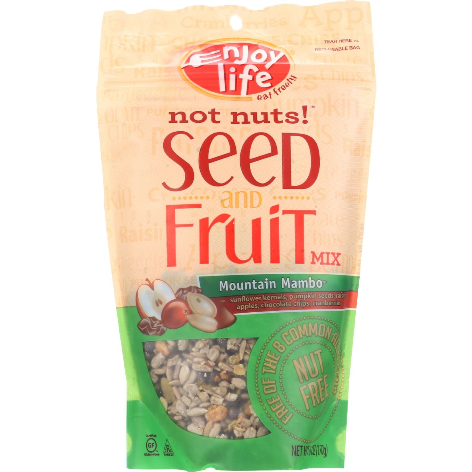 Enjoy Life Seed and Fruit Mix - Not Nuts - Mountain Mambo - Notnuts - 6 oz - case of 6 - Dairy Free - Wheat Free-Vegan