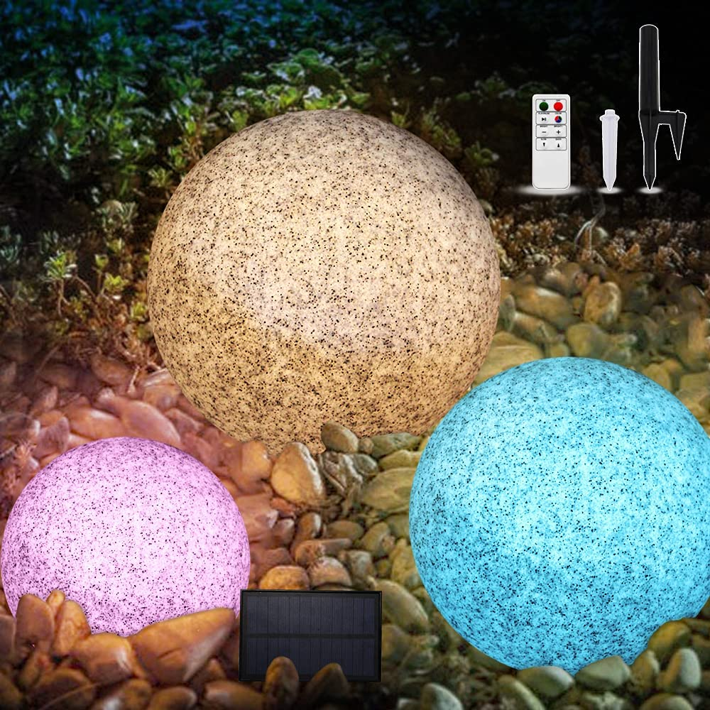 Garden Solar Ball Light, Globe Marble LED Light with Remote Control, Warm White&8 Color Changing, Waterproof Solar Landscape Light with Stakes for for Outdoor Garden Pathway Patio Yard Lawn