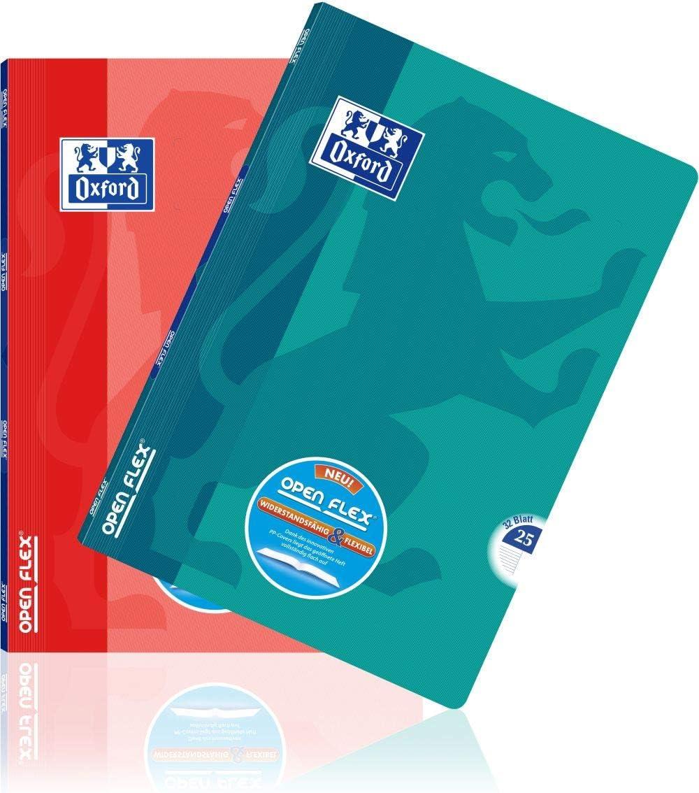 Oxford OpenFlex Notizb/ücher 96 Seiten 3 St/ück kariert 90 g verschiedene Farben 24 x 32 cm Umschlag aus Polypropylen gro/ße Karos