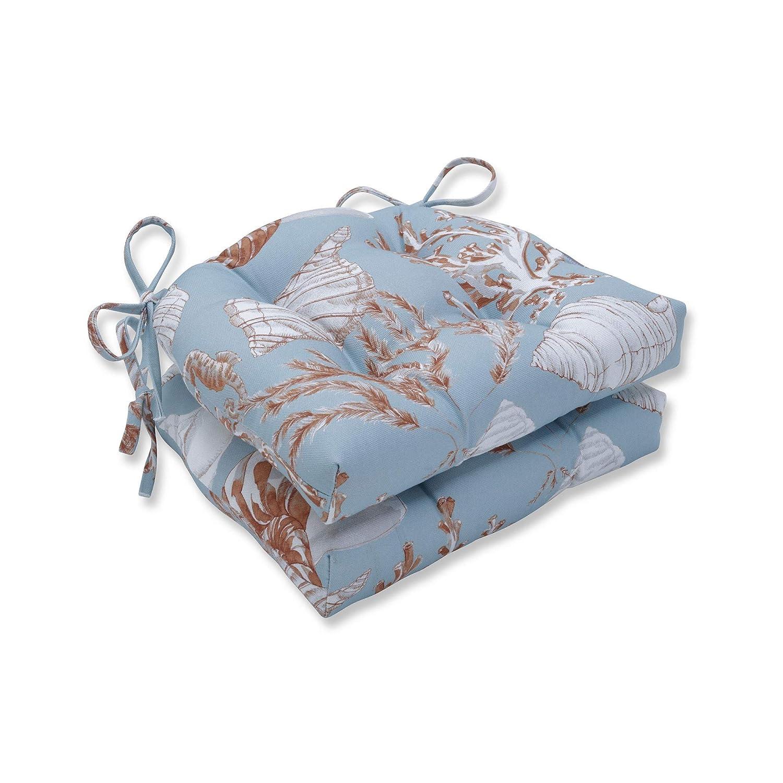 CC Home Furnishings ブルー/レッド/ホワイト/リーフ シーケープチェアクッション 16インチ 2個セット   B07HNJRWDH