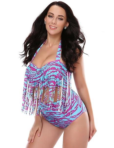 7154d67fddd0d Kathlena 2015 Colorful Plus Size Retro High Waist Fringe Bikini Swimwear (FBA)