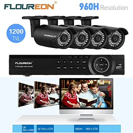 FLOUREON® 1 X 8CH DVR NVR Grabador de Video HDMI 960H Onvif CCTV + 4