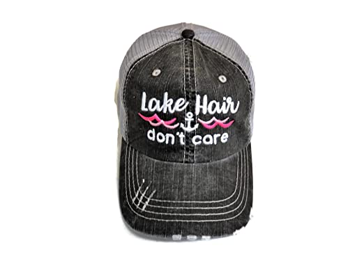 fb1d9027d39f7 Image Unavailable. Image not available for. Color  Embroidered Lake Hair  Don t Care Washed Grey Trucker Cap Hat