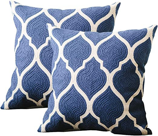 Amazon Com Dokot Tile Embroidered Throw Pillow Cover Cotton Decorative Square Cushion Case For Home Sofa Bed And Chair 18 X 18 Inches Indigo 2 Indigo Tile Home Kitchen