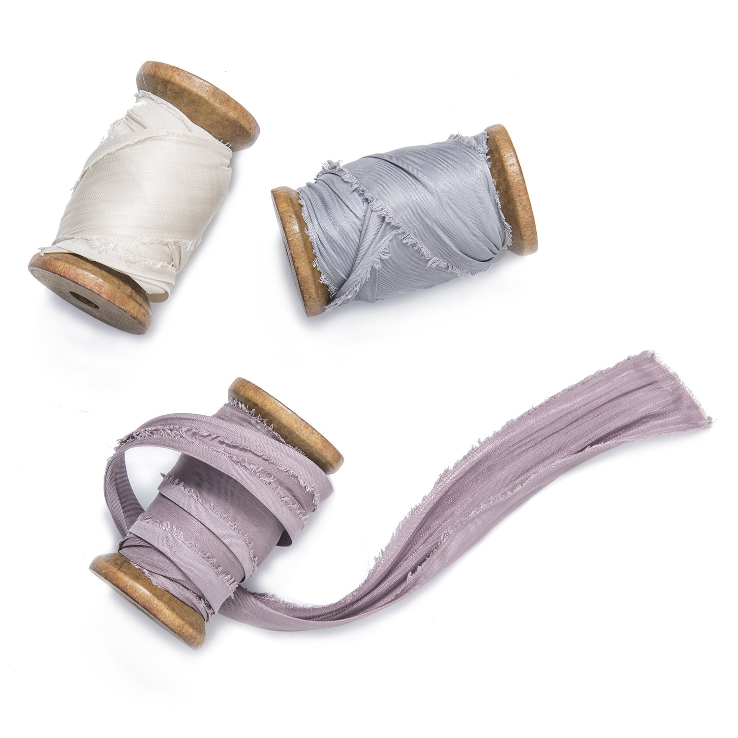 Ling's Moment Handmade Sari Silk Ribbon with Spool Set of 3 Rolls Dusty Rose/Ivory/Silver Gray Ribbons for Wedding Bouquets Invitations Gift Wrapping Decor