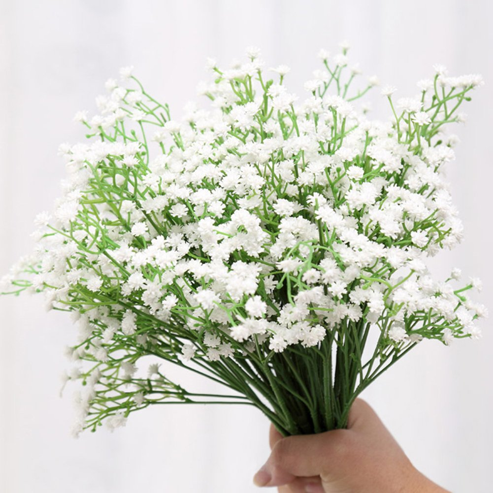 Artificial Flowers, Meiwo 5pcs Artificial Gypsophila Flowers with 25 Branches Real Touch Flowers for Home Decor, Wedding, Parties, Offices, Restaurants