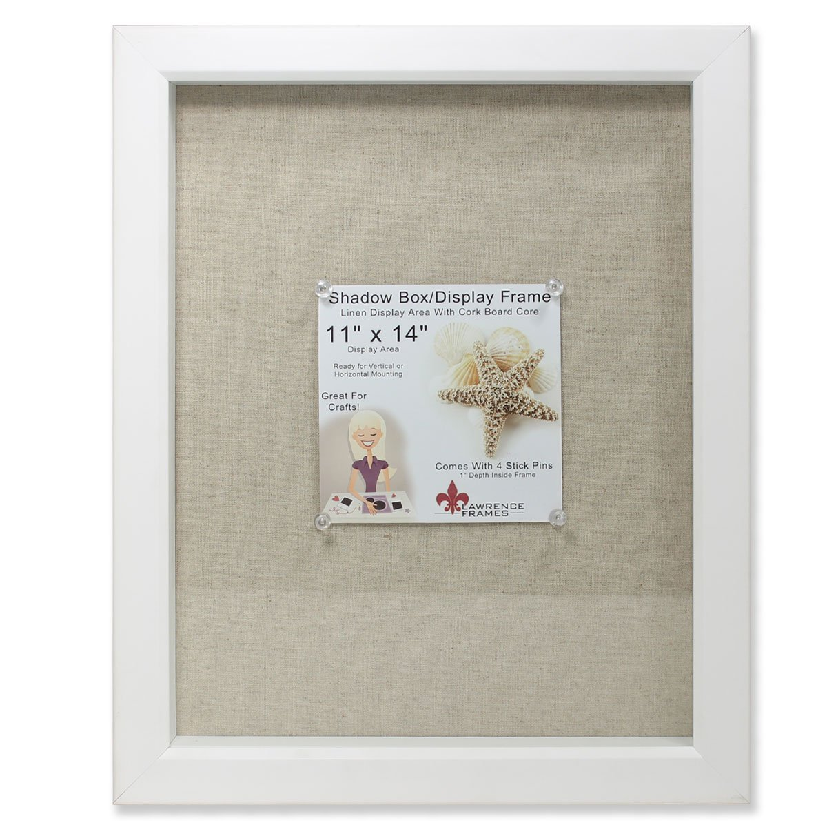 Lawrence Frames Shadow Box Frame with Linen Inner Display Board, 11 by 14-Inch, White by Lawrence Frames