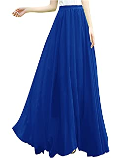 156ccbd18ed v28 Women Full Ankle Length Elastic Pleated Retro Maxi Chiffon Long Skirt
