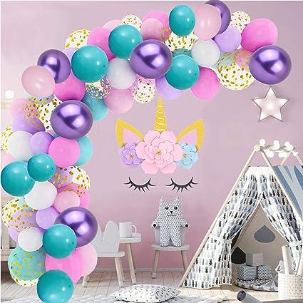Unicornio Sirena Globos De Latex Confeti Decoracion Para Fiesta Cumpleaños Niñas