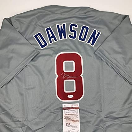 buy popular 1c86c 18d6e Autographed/Signed Andre Dawson Chicago Grey Baseball Jersey ...