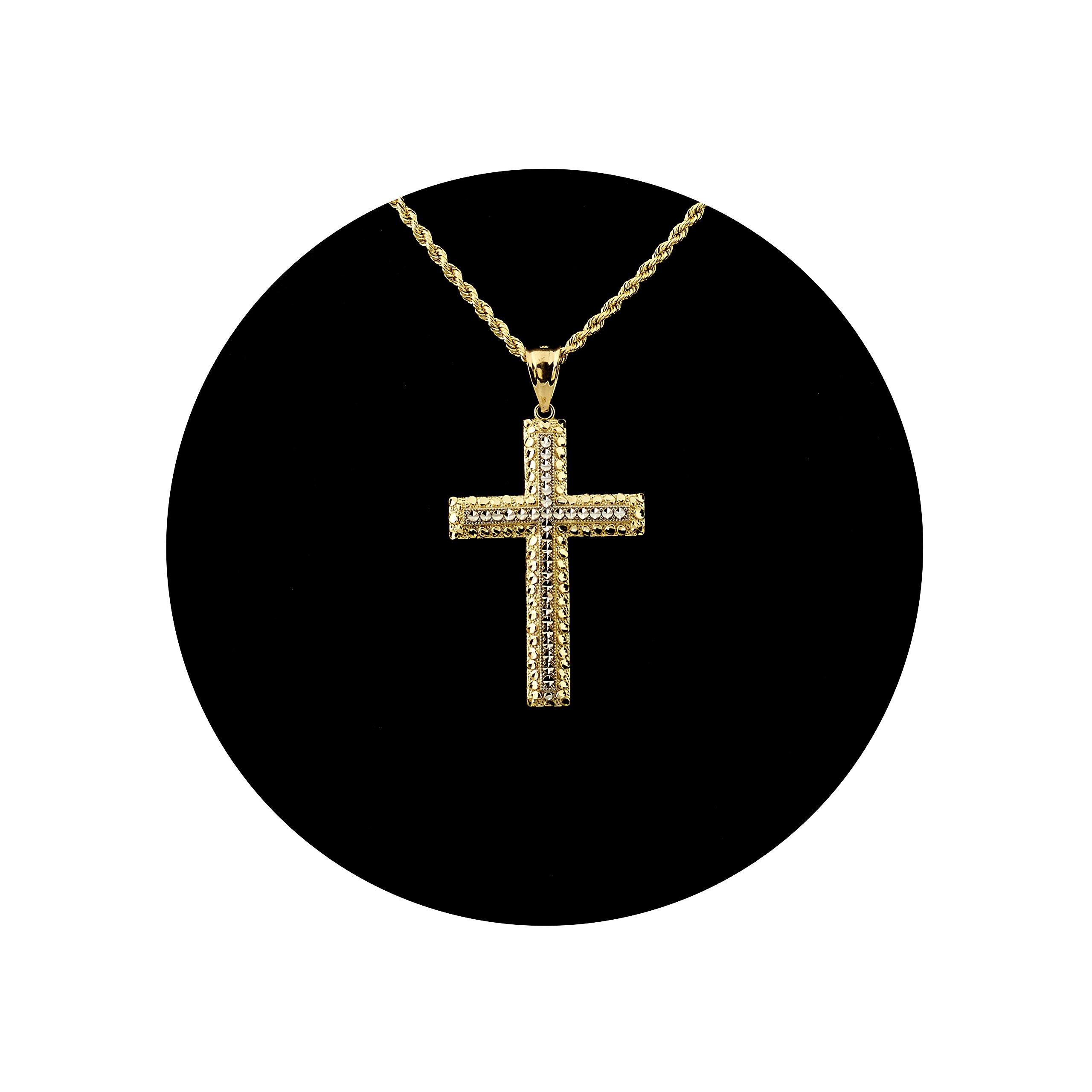 LoveBling 10K Yellow Gold Two Toned Diamond Cut Cross Charm Pendant (1.95'' x 1.05'')