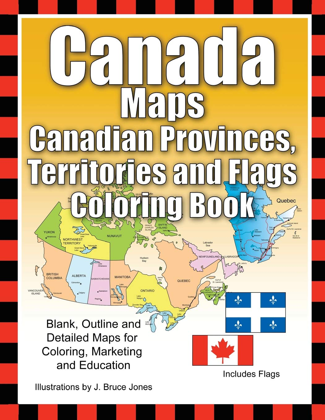 Blank Map Of Canada Provinces And Territories.Amazon Com Canada Maps Canadian Provinces Territories And Flags