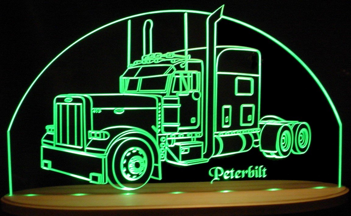 Semi Truck Pblt SAMPLE Awesome 21'' Acrylic Lighted Edge Lit LED Sign / Light Up Plaque VVD15 Full Size USA Original