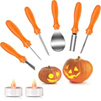 Joyjoz Halloween Pumpkin Carving Kit with 2 Pumpkin LED Lights, Pumpkin Caving Tools with Professional and Heavy Duty Stainless Steel Tools with Storage Carrying Case, Halloween Decoration (6Pcs)