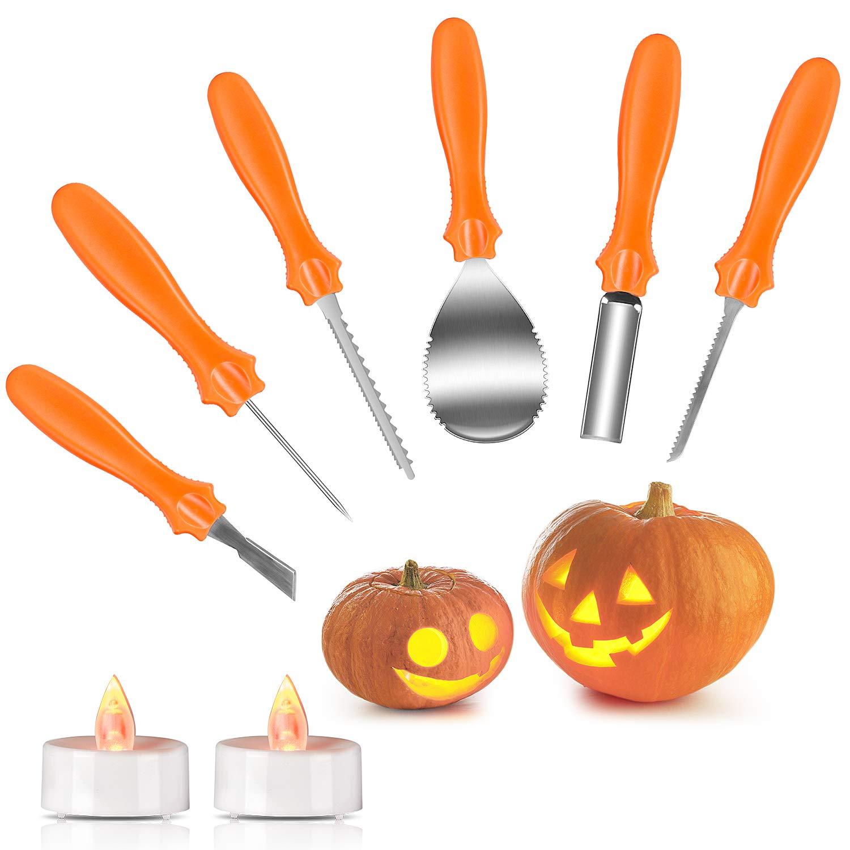 Halloween Pumpkin Carving Kit, Joyjoz Pumpkin Carving Tools Sets with 2 Pumpkin LED Lights, Professional and Heavy Duty Stainless Steel, Sturdy Sculpting Jack-O-Lanter Knife Set by Joyjoz