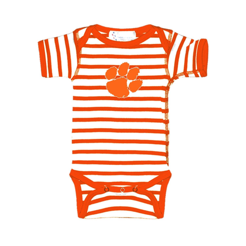 Two Feet Ahead Clemson Tigers Orange Striped NCAA College Newborn Infant Baby Creeper