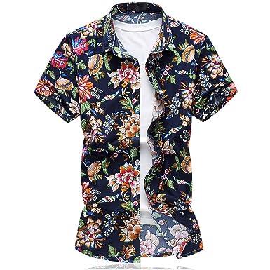 7b26d91124f6 Mirecoo Herren Strand Hemd Hawaii-Print mit Blumen Kurzarm T-Shirt Ferien