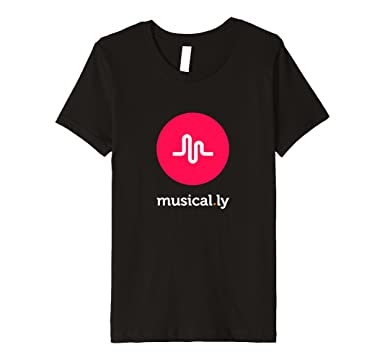 Amazon.com: Kids 'musical.ly' T-Shirt (Black - Fitted Cut) 12 ...
