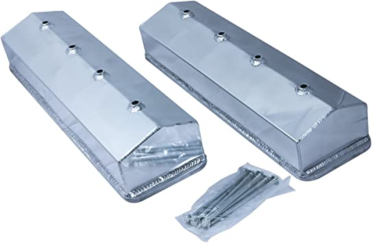 Small Block Chevy Fabricated Alum Tall Valve Covers Clear Anodized Short Bolt