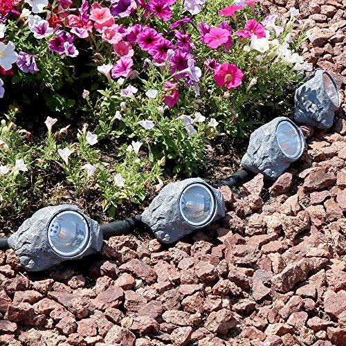 Sunnydaze Outdoor Solar Garden Lights (Set of 4), Decorative Rock Accent LED Pathway Light by Sunnydaze Decor