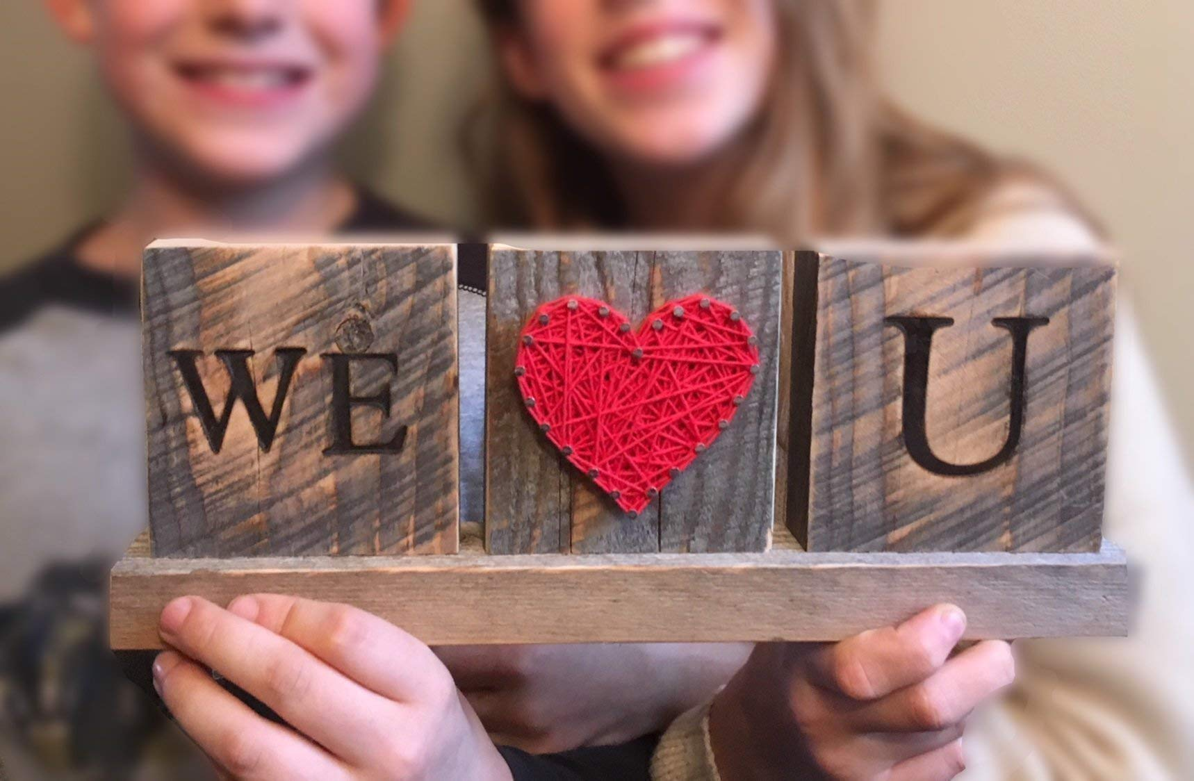 We Love you string art desk sign gift. Great from the kids by Nail it Art. We love you Dad gift.
