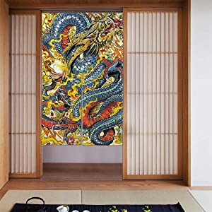 Home Decor Japanese Traditional Gold Dragon Printed Doorway Curtain Polyester 34