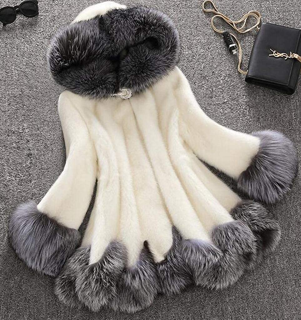 Mstyle Womens Warm Shaggy Fashion Slim Fit Winter Hoodie Mid Length Faux Fur Parka Outwear