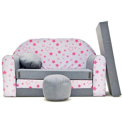 A40 - Sofá para niños, cama acogedora (estrellas grises ...
