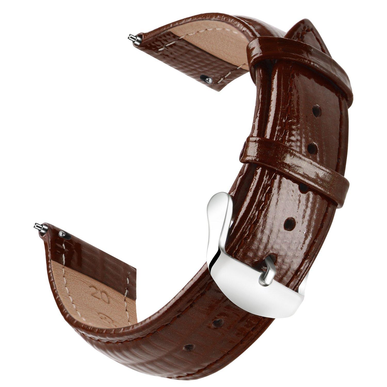 ollrearクイックリリースレザー時計ストラップ交換本革腕時計バンド6色& 6サイズ 18mm ブラウン  ブラウン 18mm B07D7YG13Q