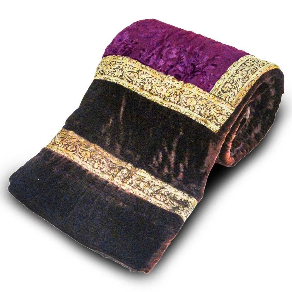Little India Jaipuri Dark Brown Printed Double Bed Velvet Quilt 404