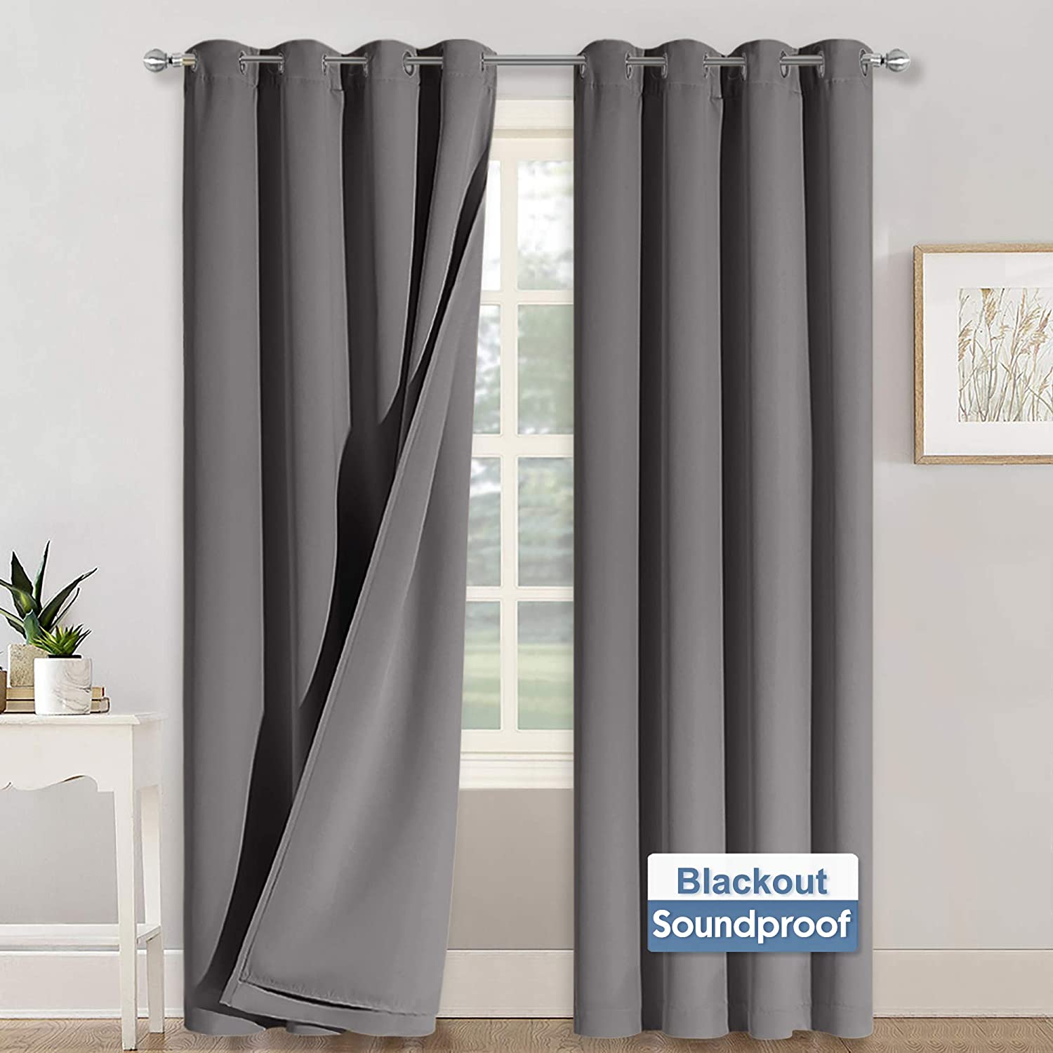 RYB HOME Thermal Curtains Soundproof - 3-in-1 Curtains Noise Barrier - 100% Blackout - Thermal Insulated Curtains for Bedroom Room Divider High Ceiling Window Decor, 52 x 95 inch Long, Grey, 2 Pcs