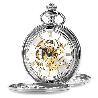 ManChDa Reloj de Bolsillo Retro Suave Clásico Mecánico Hand-Wind Reloj de Bolsillo Números Romanos Steampunk Reloj Fob para Hombres, Mujeres con Cadena + ...