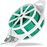 HDONG 328ft (100m) Garden Plant Twist Tie - Sturdy Green Coated Twist Tie with Cutter, Multi-Purpose Plant Ties for…