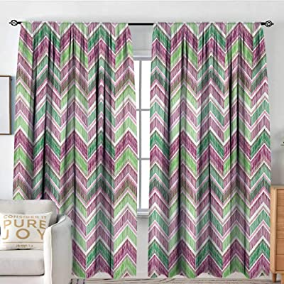 "curtains for living room Zigzag,Doodle Style Chevron Line Tribal Pattern Ornamental Stripes Illustration,Pale Green Purple Pink,Decor Collection Thermal/Room Darkening Window Curtains 84""x100"": Home & Kitchen"